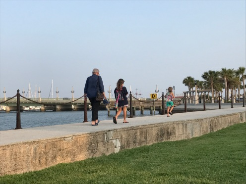 Nikki, Molly and Madelyn walking on the seawall